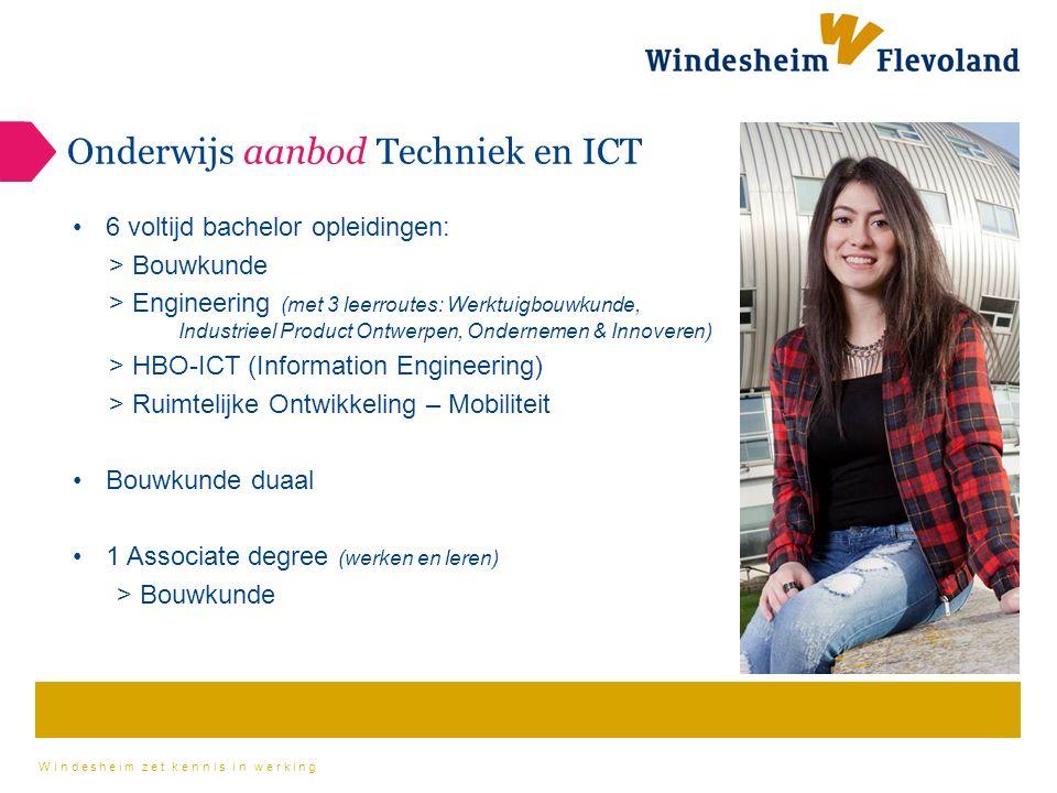 Windesheim zet kennis in werking Onderwijs aanbod Techniek en ICT 6 voltijd bachelor opleidingen: > Bouwkunde > Engineering (met 3 leerroutes: Werktuigbouwkunde, Industrieel Product Ontwerpen, Ondernemen & Innoveren) > HBO-ICT (Information Engineering) > Ruimtelijke Ontwikkeling – Mobiliteit Bouwkunde duaal 1 Associate degree (werken en leren) > Bouwkunde