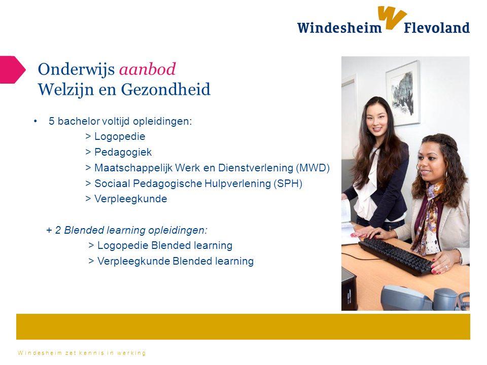 Windesheim zet kennis in werking Onderwijs aanbod Welzijn en Gezondheid 5 bachelor voltijd opleidingen: > Logopedie > Pedagogiek > Maatschappelijk Werk en Dienstverlening (MWD) > Sociaal Pedagogische Hulpverlening (SPH) > Verpleegkunde + 2 Blended learning opleidingen: > Logopedie Blended learning > Verpleegkunde Blended learning