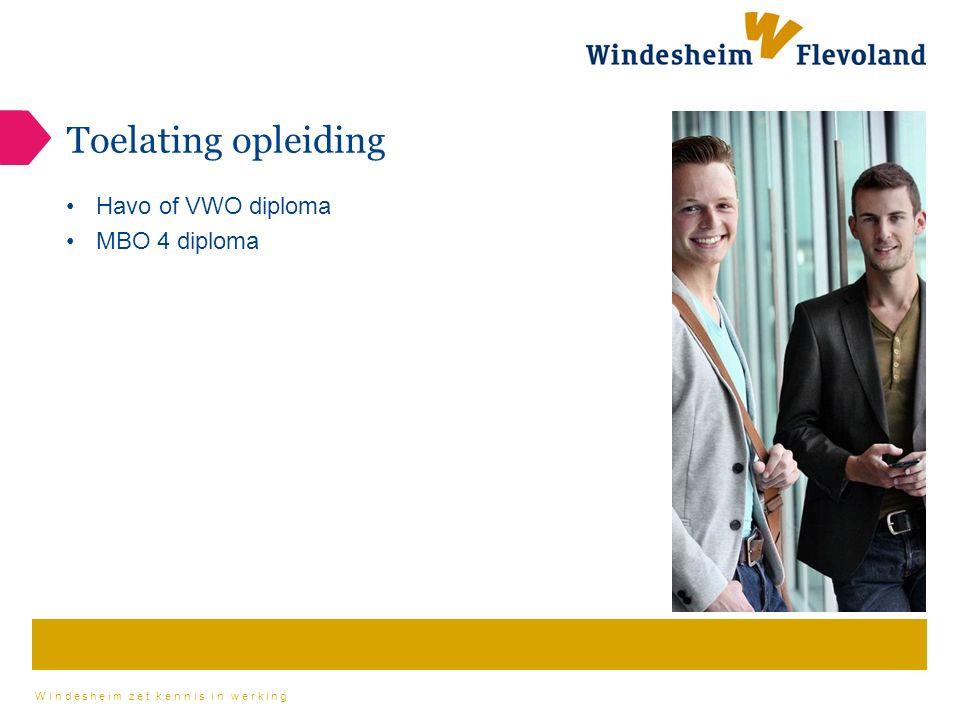 Windesheim zet kennis in werking Toelating opleiding Havo of VWO diploma MBO 4 diploma