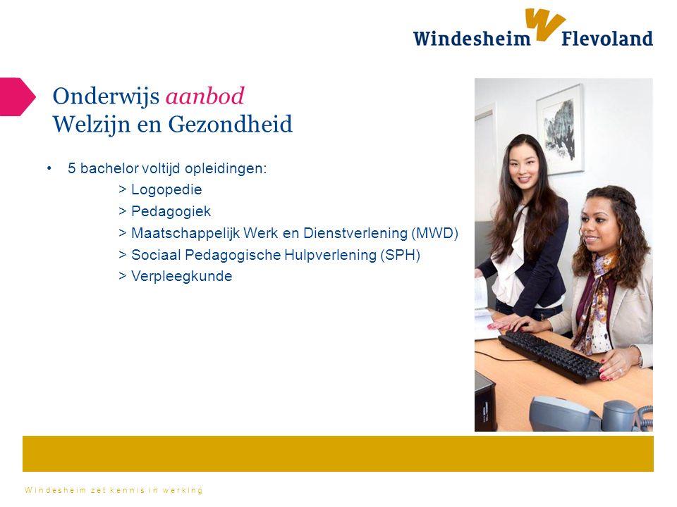 Windesheim zet kennis in werking Onderwijs aanbod Welzijn en Gezondheid 5 bachelor voltijd opleidingen: > Logopedie > Pedagogiek > Maatschappelijk Werk en Dienstverlening (MWD) > Sociaal Pedagogische Hulpverlening (SPH) > Verpleegkunde