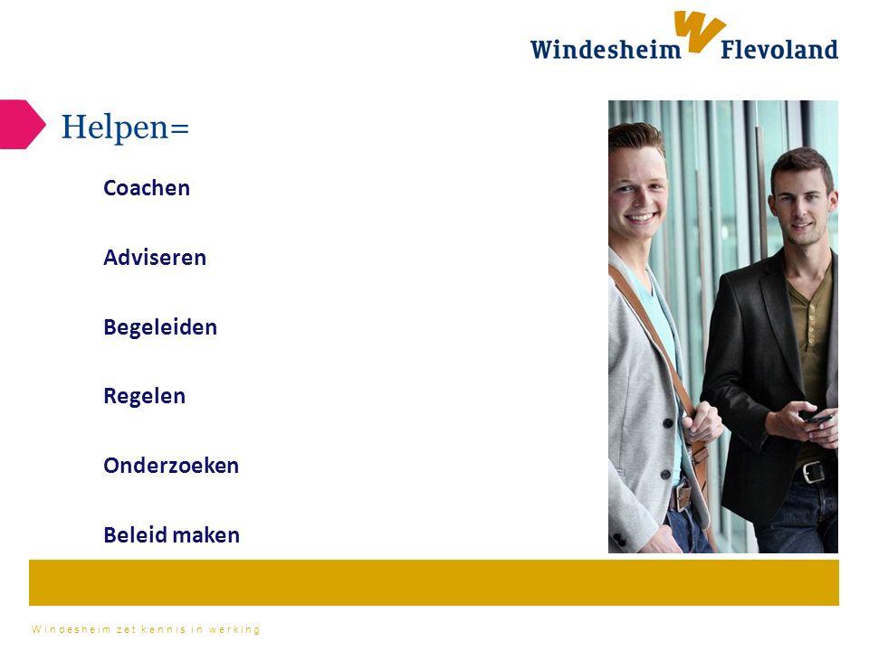Windesheim zet kennis in werking Helpen= Coachen Adviseren Begeleiden Regelen Onderzoeken Beleid maken