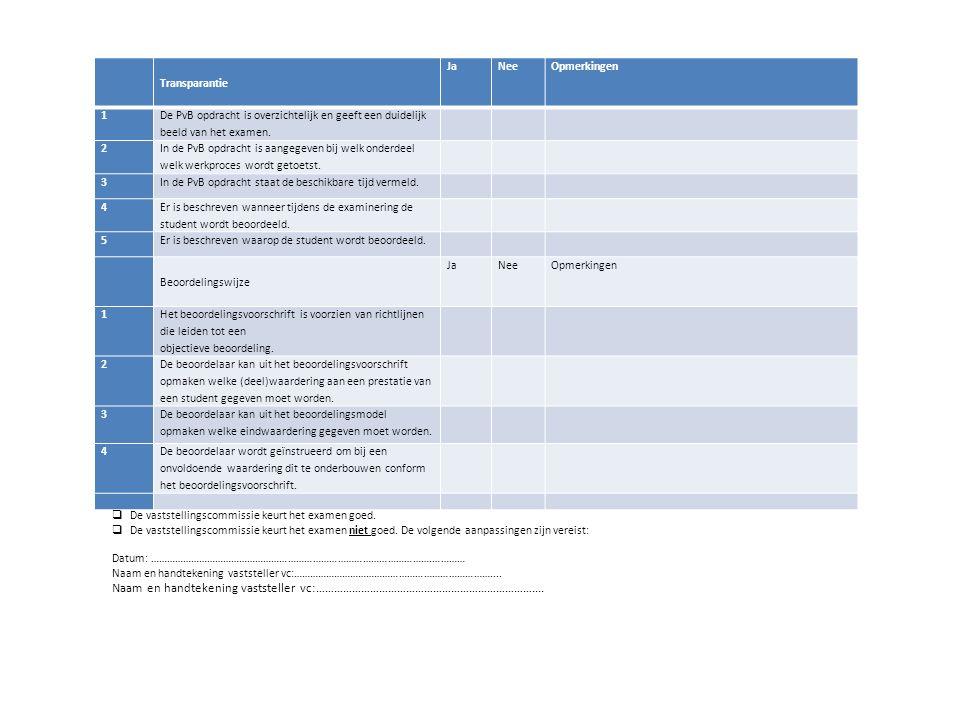 Transparantie JaNeeOpmerkingen 1 De PvB opdracht is overzichtelijk en geeft een duidelijk beeld van het examen. 2 In de PvB opdracht is aangegeven bij
