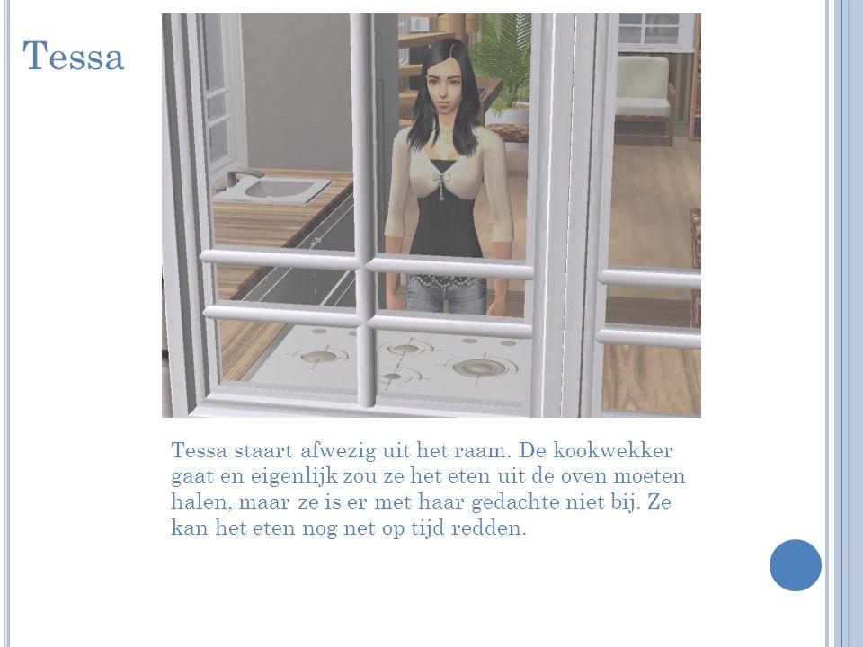 Tessa Tessa staart afwezig uit het raam.