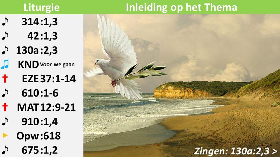 Liturgie ♪ 314:1,3 ♪ 42:1,3 ♪ 130a:2,3 ♫ KND Voor we gaan ✝ EZE37:1-14 ♪ 610:1-6 ✝ MAT12:9-21 ♪ 910:1,4 ▶ Opw:618 ♪ 675:1,2 Zingen: 130a:2,3 > Inleiding op het Thema
