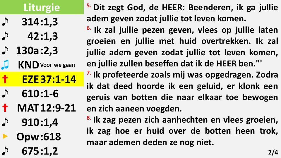 Liturgie ♪ 314:1,3 ♪ 42:1,3 ♪ 130a:2,3 ♫ KND Voor we gaan ✝ EZE37:1-14 ♪ 610:1-6 ✝ MAT12:9-21 ♪ 910:1,4 ▶ Opw:618 ♪ 675:1,2 5.