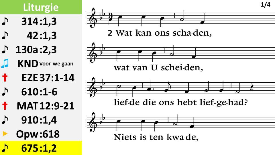 Liturgie ♪ 314:1,3 ♪ 42:1,3 ♪ 130a:2,3 ♫ KND Voor we gaan ✝ EZE37:1-14 ♪ 610:1-6 ✝ MAT12:9-21 ♪ 910:1,4 ▶ Opw:618 ♪ 675:1,2 1/4