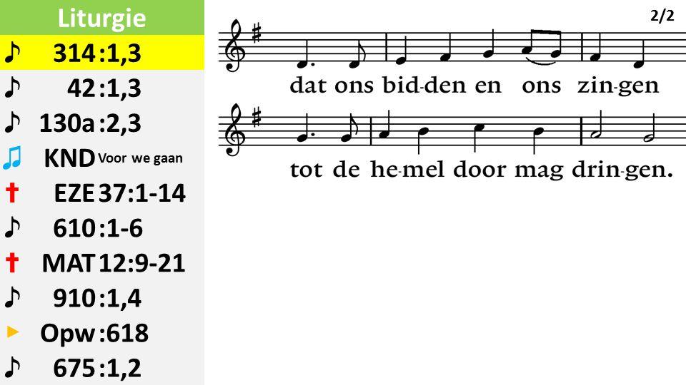 Liturgie ♪ 314:1,3 ♪ 42:1,3 ♪ 130a:2,3 ♫ KND Voor we gaan ✝ EZE37:1-14 ♪ 610:1-6 ✝ MAT12:9-21 ♪ 910:1,4 ▶ Opw:618 ♪ 675:1,2 2/2