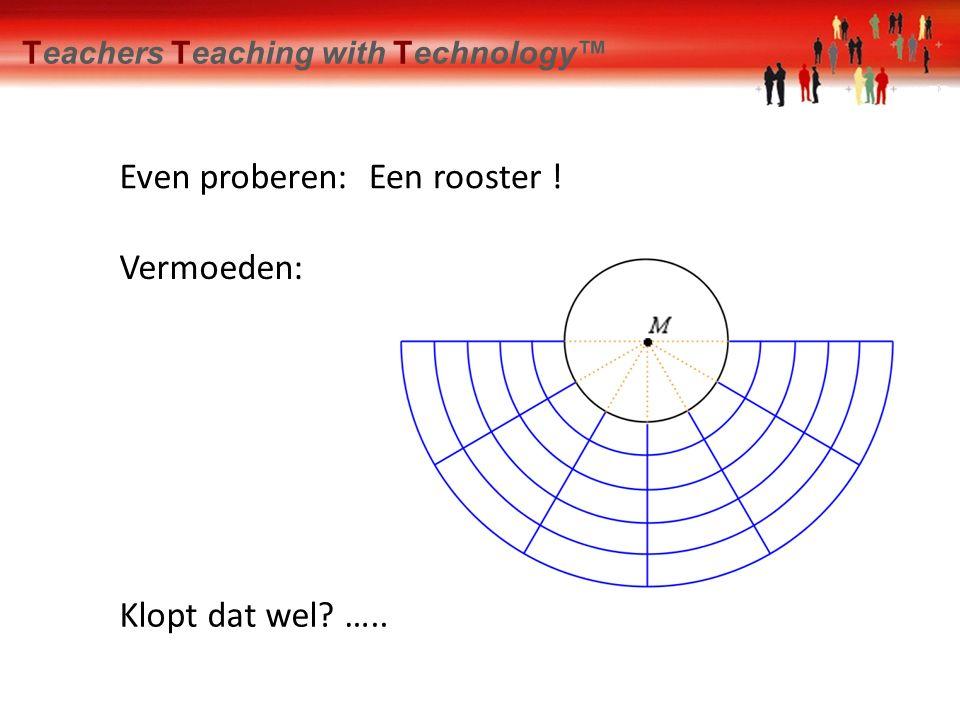 Onderzoek Even proberen: Klopt dat wel? ….. Vermoeden: Teachers Teaching with Technology™ Een rooster !