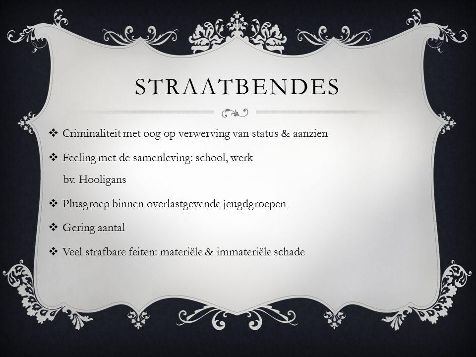STRAATBENDES  Criminaliteit met oog op verwerving van status & aanzien  Feeling met de samenleving: school, werk bv. Hooligans  Plusgroep binnen ov
