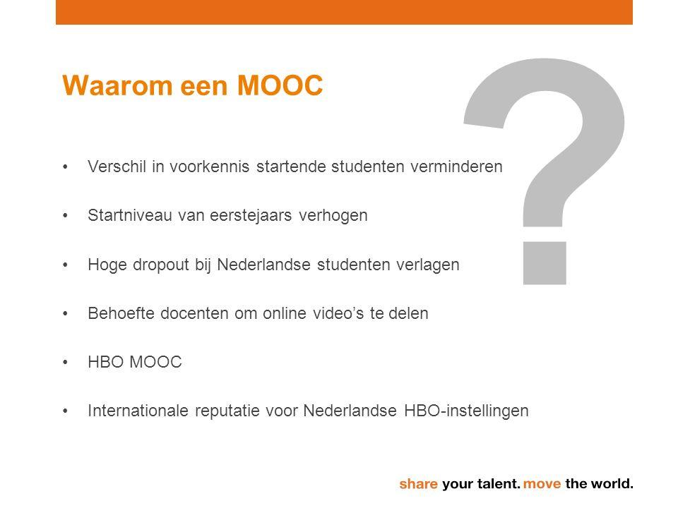 Waarom een MOOC Verschil in voorkennis startende studenten verminderen Startniveau van eerstejaars verhogen Hoge dropout bij Nederlandse studenten verlagen Behoefte docenten om online video's te delen HBO MOOC Internationale reputatie voor Nederlandse HBO-instellingen