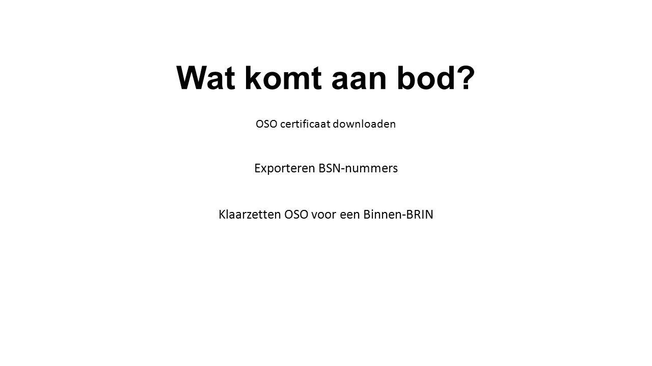 Wat komt aan bod? Exporteren BSN-nummers Klaarzetten OSO voor een Binnen-BRIN OSO certificaat downloaden
