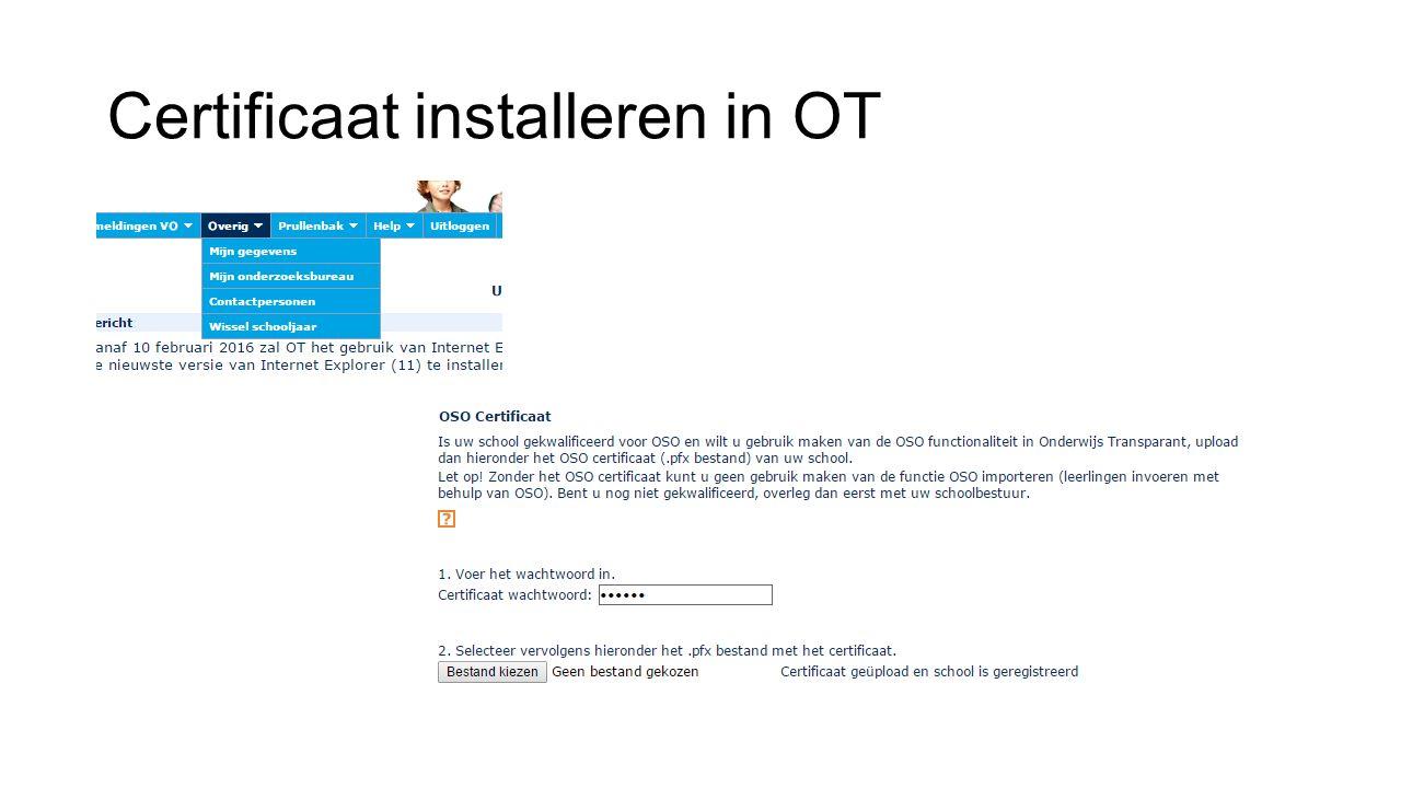 Certificaat installeren in OT