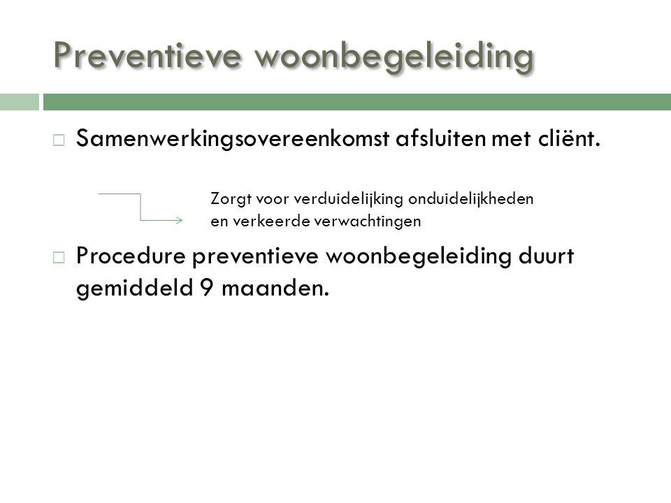 Preventieve woonbegeleiding  Samenwerkingsovereenkomst afsluiten met cliënt.  Procedure preventieve woonbegeleiding duurt gemiddeld 9 maanden. Zorgt