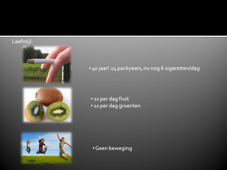 40 jaar! 24 packyears, nu nog 6 sigaretten/dag 1x per dag fruit 1x per dag groenten Geen beweging Leefstijl: