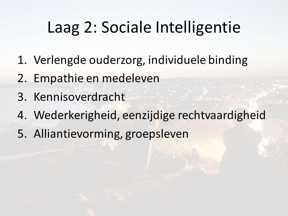 Laag 2: Sociale Intelligentie 1.Verlengde ouderzorg, individuele binding 2.Empathie en medeleven 3.Kennisoverdracht 4.Wederkerigheid, eenzijdige rechtvaardigheid 5.Alliantievorming, groepsleven