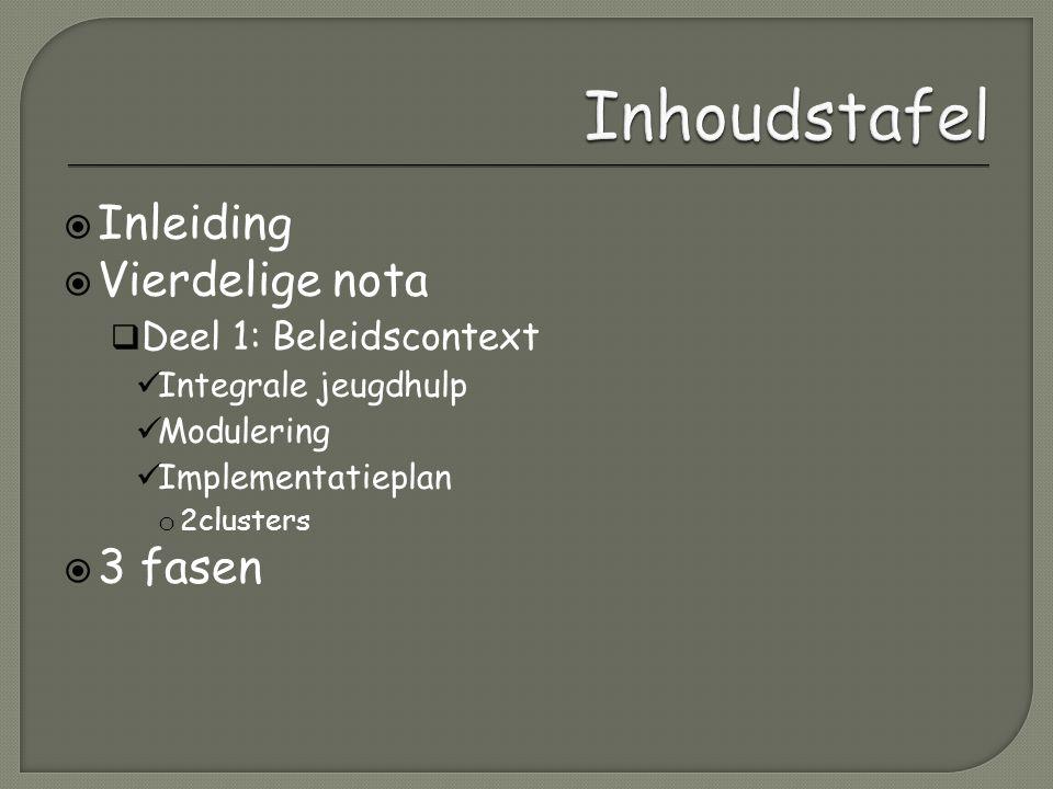  Inleiding  Vierdelige nota  Deel 1: Beleidscontext Integrale jeugdhulp Modulering Implementatieplan o 2clusters  3 fasen
