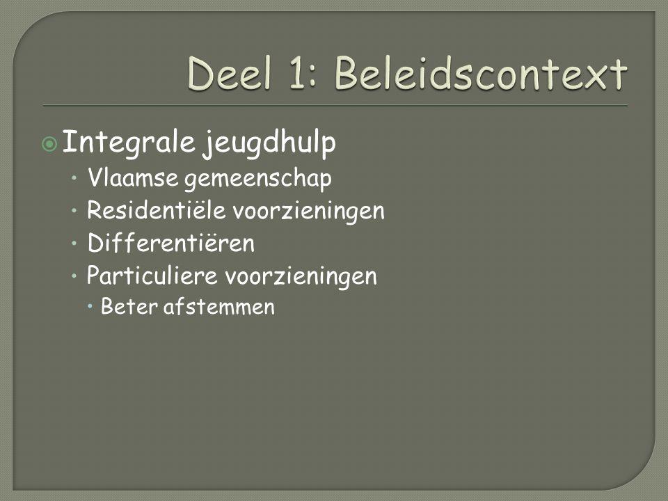  Integrale jeugdhulp Vlaamse gemeenschap Residentiële voorzieningen Differentiëren Particuliere voorzieningen  Beter afstemmen