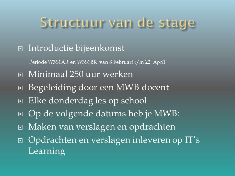  Introductie bijeenkomst Periode W3S1AR en W3S1BR van 8 Februari t/m 22 April  Minimaal 250 uur werken  Begeleiding door een MWB docent  Elke donderdag les op school  Op de volgende datums heb je MWB:  Maken van verslagen en opdrachten  Opdrachten en verslagen inleveren op IT's Learning