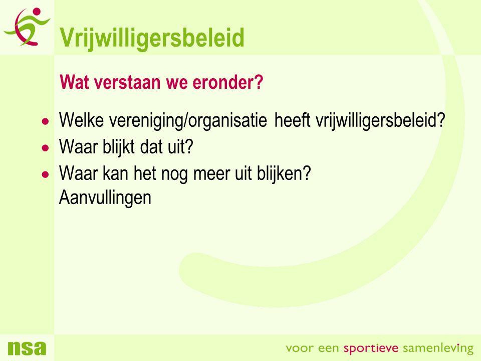 Vrijwilligersbeleid  Welke vereniging/organisatie heeft vrijwilligersbeleid.
