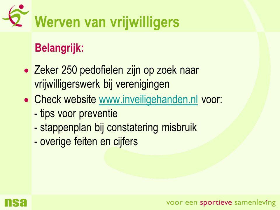 Werven van vrijwilligers  Zeker 250 pedofielen zijn op zoek naar vrijwilligerswerk bij verenigingen  Check website www.inveiligehanden.nl voor: - tips voor preventie - stappenplan bij constatering misbruik - overige feiten en cijferswww.inveiligehanden.nl Belangrijk: