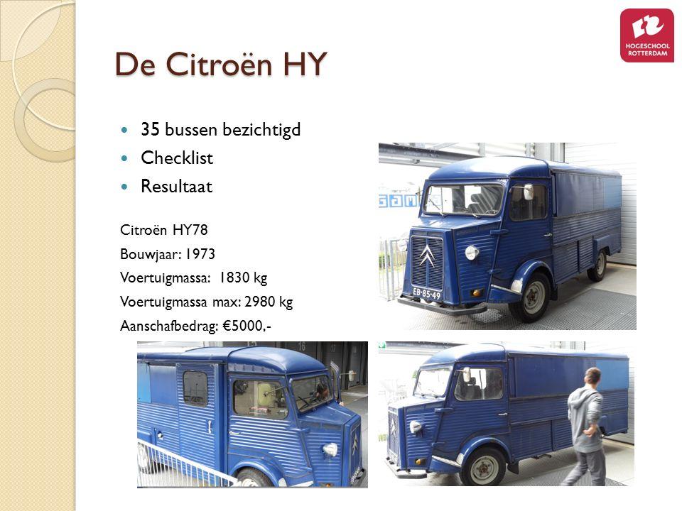 De Citroën HY 35 bussen bezichtigd Checklist Resultaat Citroën HY78 Bouwjaar: 1973 Voertuigmassa: 1830 kg Voertuigmassa max: 2980 kg Aanschafbedrag: €