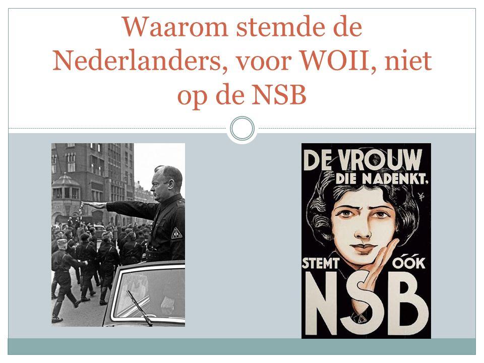 Waarom stemde de Nederlanders, voor WOII, niet op de NSB