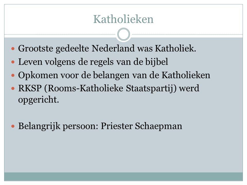 Katholieken Grootste gedeelte Nederland was Katholiek. Leven volgens de regels van de bijbel Opkomen voor de belangen van de Katholieken RKSP (Rooms-K
