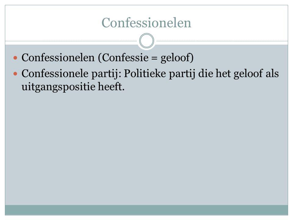 Confessionelen Confessionelen (Confessie = geloof) Confessionele partij: Politieke partij die het geloof als uitgangspositie heeft.