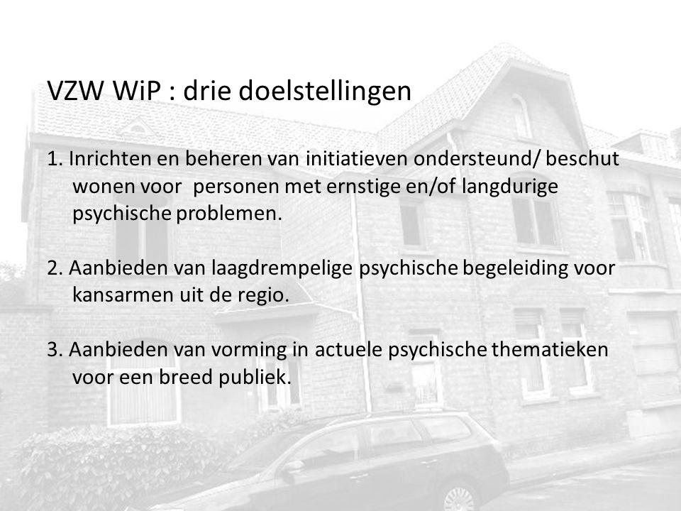VZW WiP : drie doelstellingen 1. Inrichten en beheren van initiatieven ondersteund/ beschut wonen voor personen met ernstige en/of langdurige psychisc