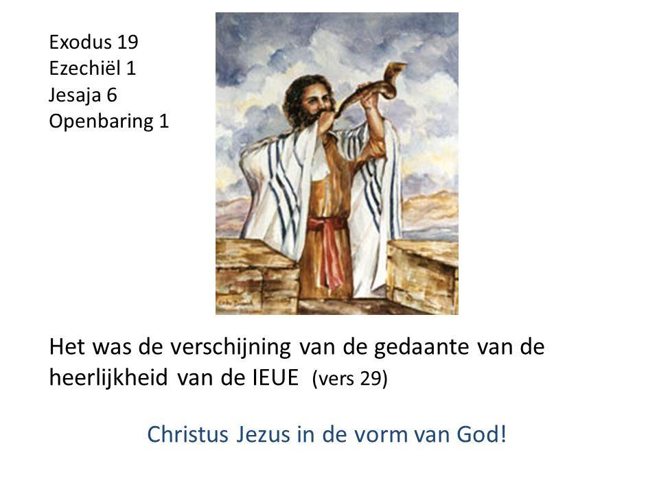 Het was de verschijning van de gedaante van de heerlijkheid van de IEUE (vers 29) Christus Jezus in de vorm van God.