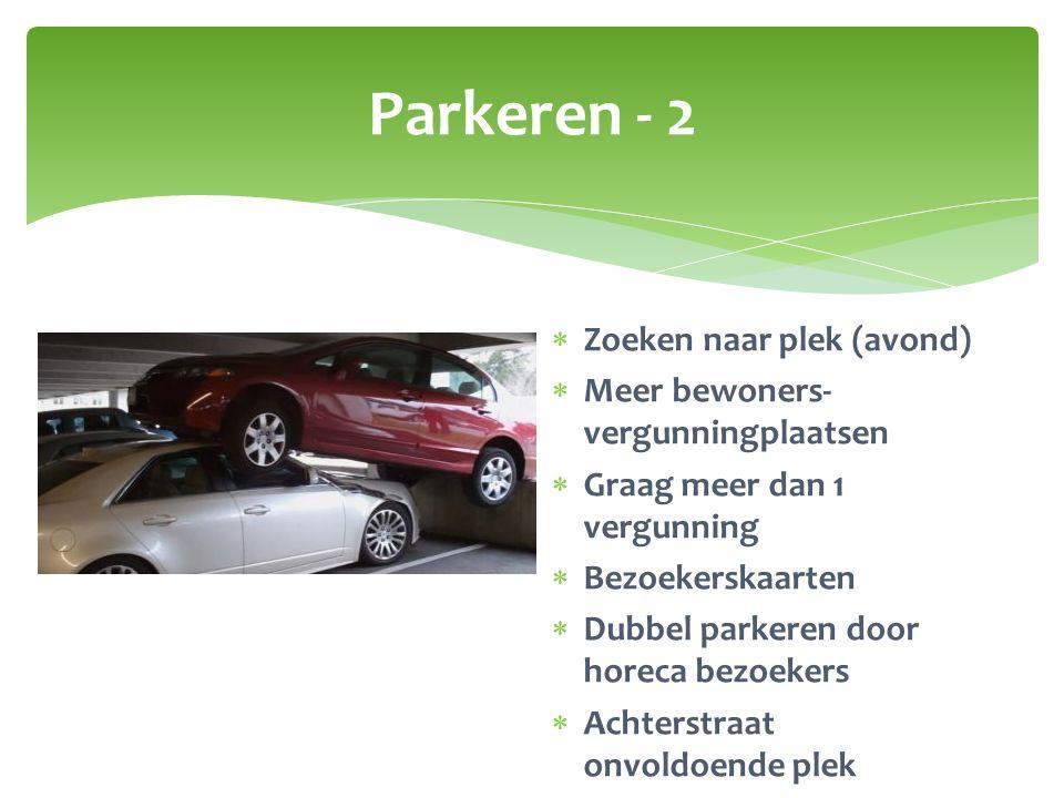 Parkeren - 2  Zoeken naar plek (avond)  Meer bewoners- vergunningplaatsen  Graag meer dan 1 vergunning  Bezoekerskaarten  Dubbel parkeren door ho