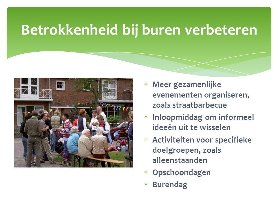 Betrokkenheid bij buren verbeteren  Meer gezamenlijke evenementen organiseren, zoals straatbarbecue  Inloopmiddag om informeel ideeën uit te wissele
