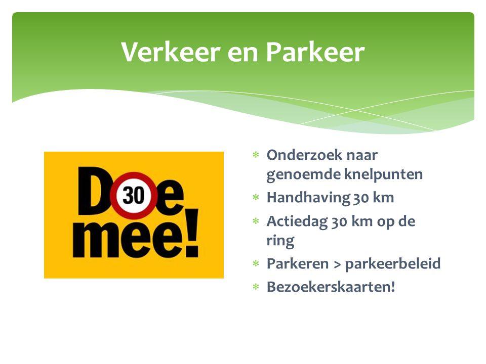 Verkeer en Parkeer  Onderzoek naar genoemde knelpunten  Handhaving 30 km  Actiedag 30 km op de ring  Parkeren > parkeerbeleid  Bezoekerskaarten!