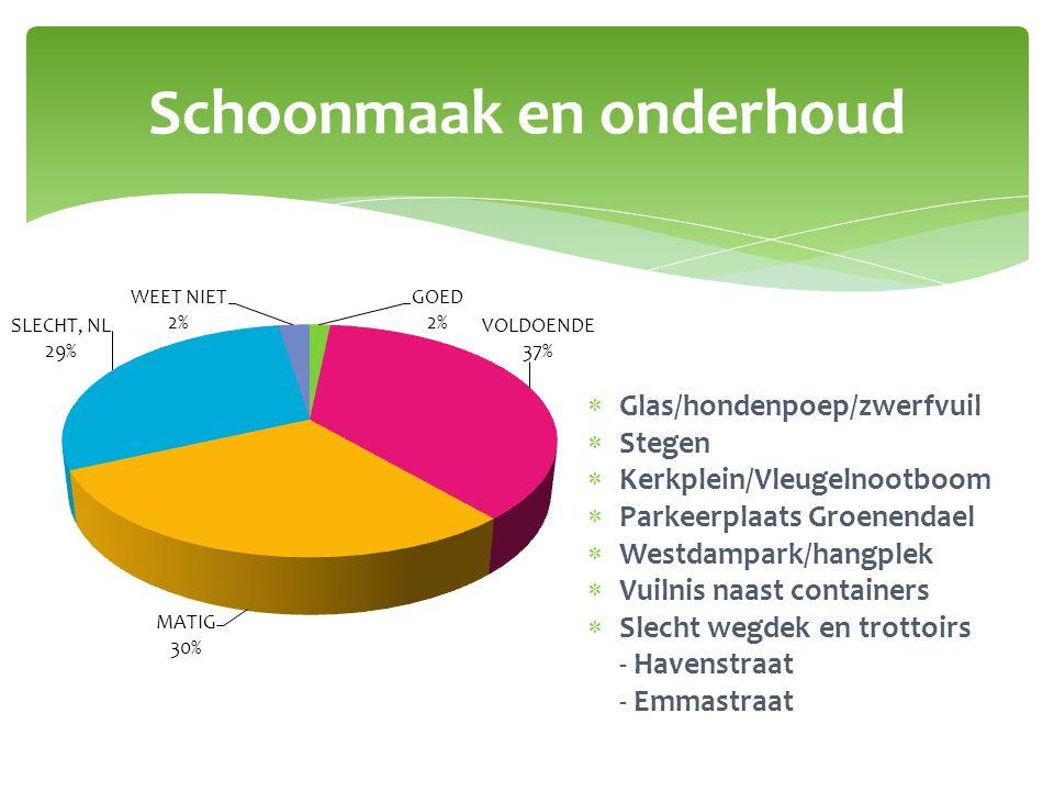 Schoonmaak en onderhoud  Glas/hondenpoep/zwerfvuil  Stegen  Kerkplein/Vleugelnootboom  Parkeerplaats Groenendael  Westdampark/hangplek  Vuilnis