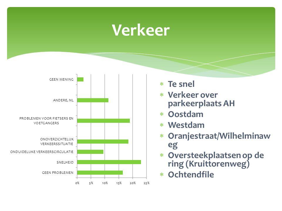 Verkeer  Te snel  Verkeer over parkeerplaats AH  Oostdam  Westdam  Oranjestraat/Wilhelminaw eg  Oversteekplaatsen op de ring (Kruittorenweg)  O