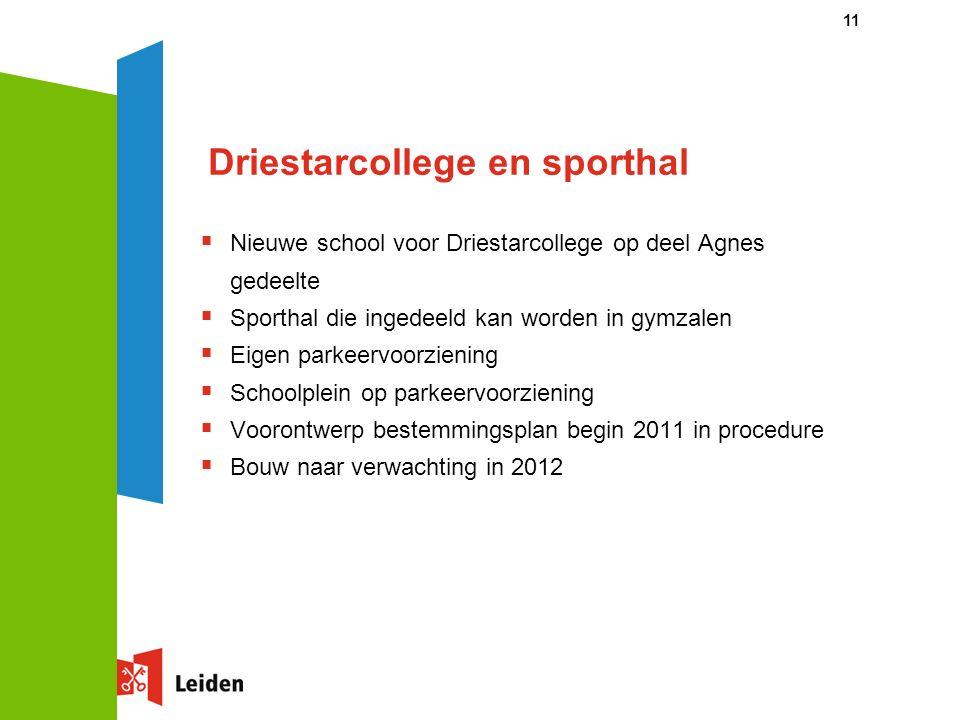 11 Driestarcollege en sporthal  Nieuwe school voor Driestarcollege op deel Agnes gedeelte  Sporthal die ingedeeld kan worden in gymzalen  Eigen par