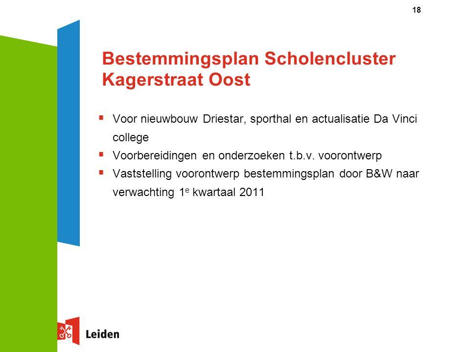 18 Bestemmingsplan Scholencluster Kagerstraat Oost  Voor nieuwbouw Driestar, sporthal en actualisatie Da Vinci college  Voorbereidingen en onderzoeken t.b.v.