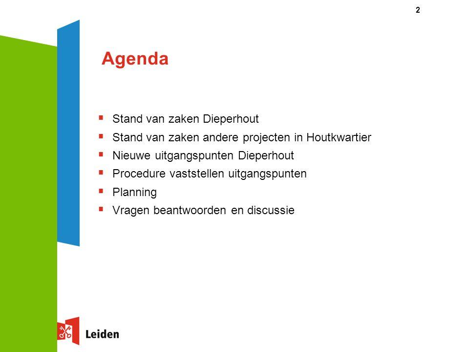 2 Agenda  Stand van zaken Dieperhout  Stand van zaken andere projecten in Houtkwartier  Nieuwe uitgangspunten Dieperhout  Procedure vaststellen uitgangspunten  Planning  Vragen beantwoorden en discussie