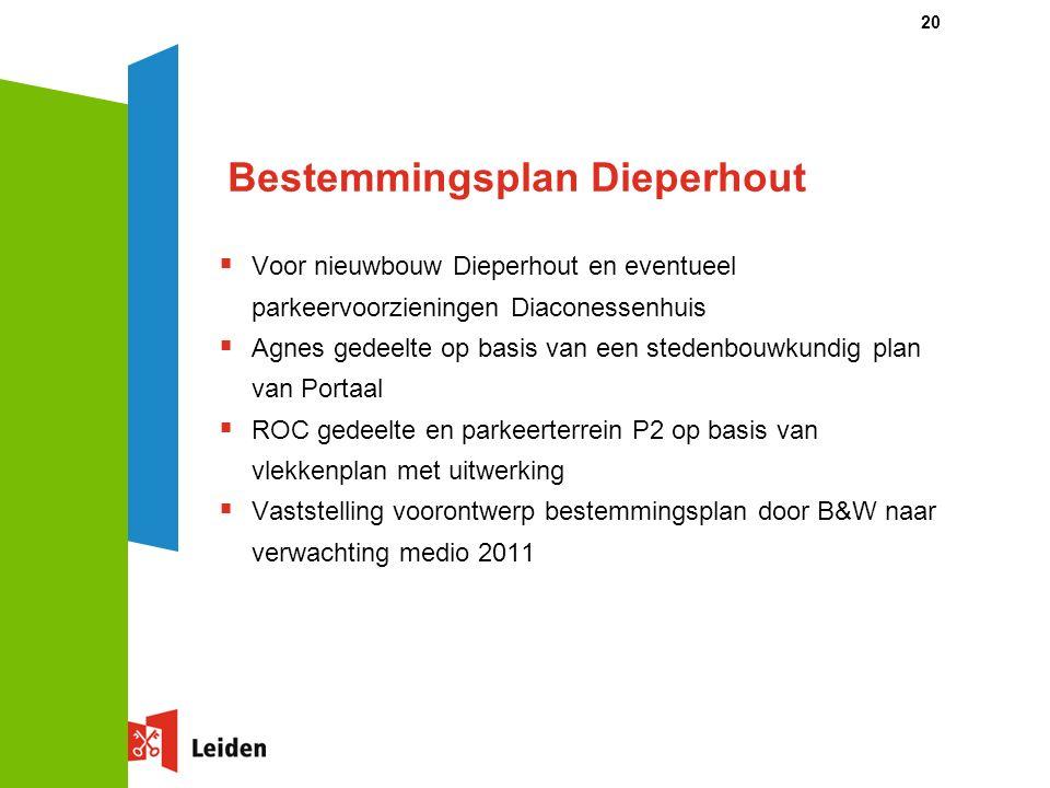 20 Bestemmingsplan Dieperhout  Voor nieuwbouw Dieperhout en eventueel parkeervoorzieningen Diaconessenhuis  Agnes gedeelte op basis van een stedenbo