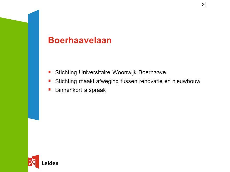 21 Boerhaavelaan  Stichting Universitaire Woonwijk Boerhaave  Stichting maakt afweging tussen renovatie en nieuwbouw  Binnenkort afspraak