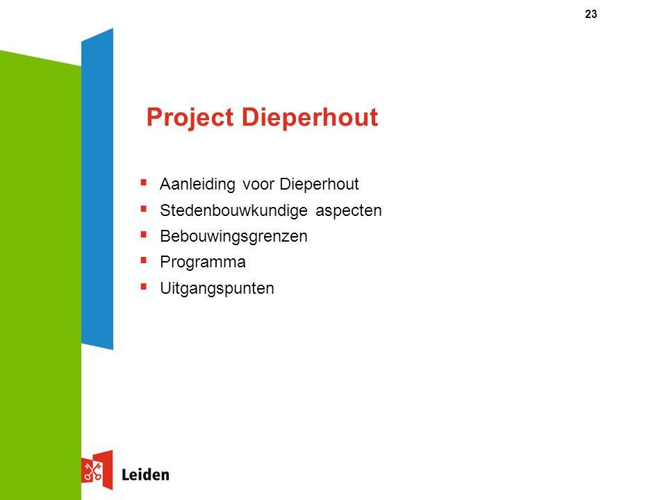 23 Project Dieperhout  Aanleiding voor Dieperhout  Stedenbouwkundige aspecten  Bebouwingsgrenzen  Programma  Uitgangspunten