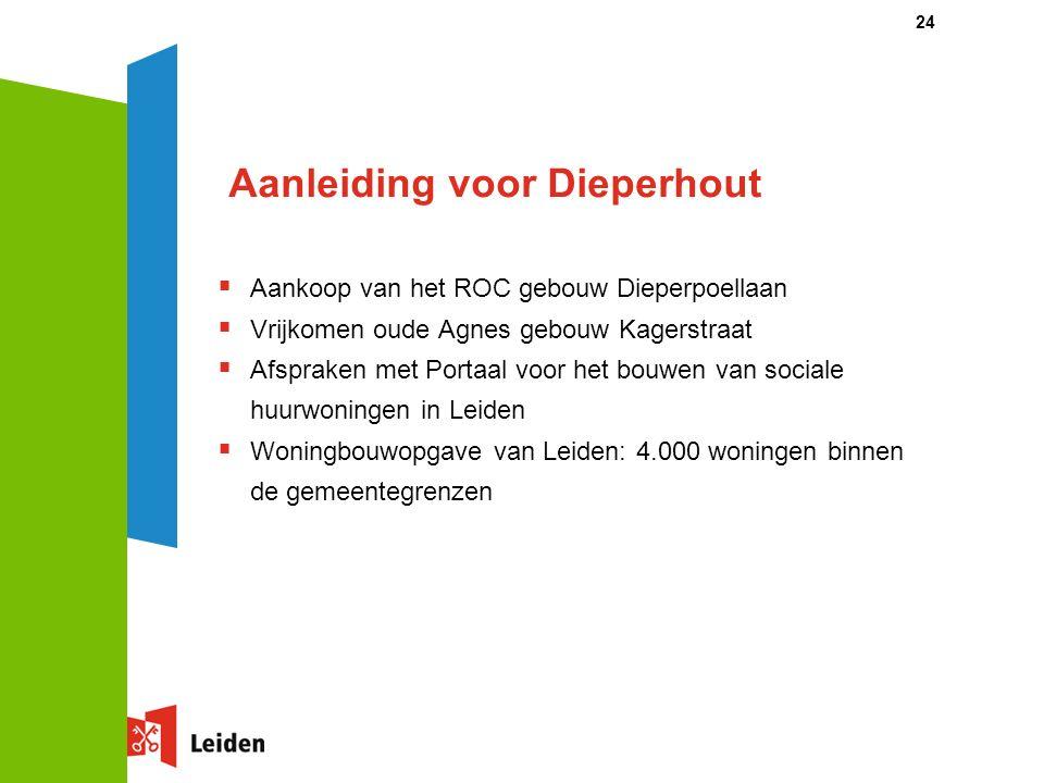 24 Aanleiding voor Dieperhout  Aankoop van het ROC gebouw Dieperpoellaan  Vrijkomen oude Agnes gebouw Kagerstraat  Afspraken met Portaal voor het b