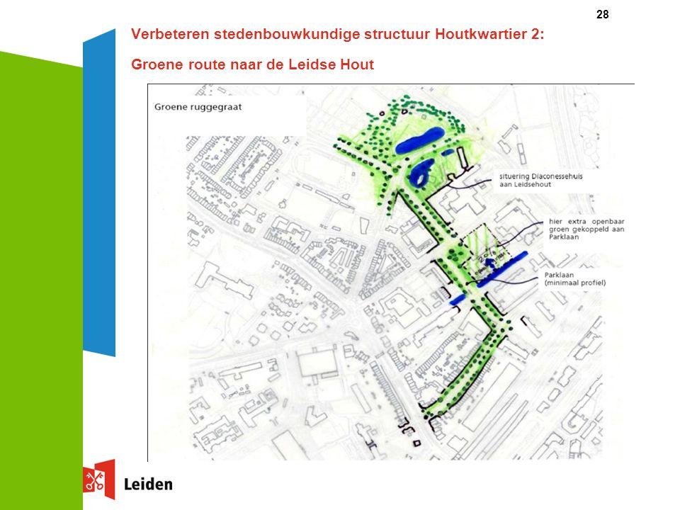 28 Verbeteren stedenbouwkundige structuur Houtkwartier 2: Groene route naar de Leidse Hout