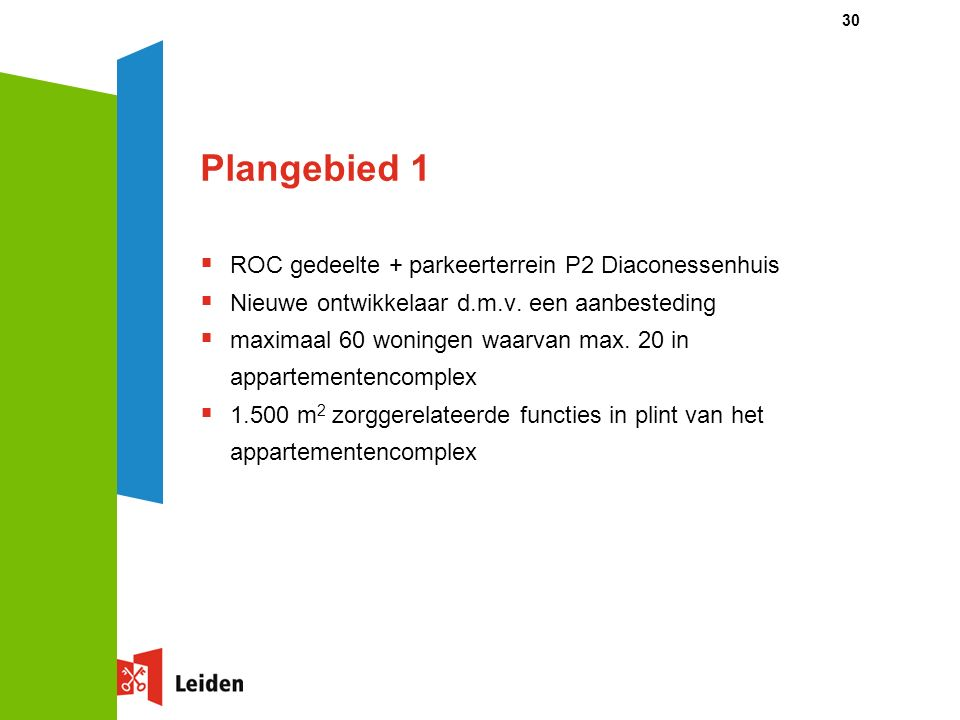 30 Plangebied 1  ROC gedeelte + parkeerterrein P2 Diaconessenhuis  Nieuwe ontwikkelaar d.m.v. een aanbesteding  maximaal 60 woningen waarvan max. 2