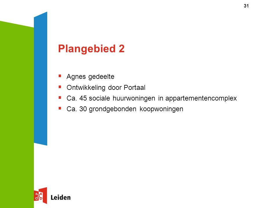 31 Plangebied 2  Agnes gedeelte  Ontwikkeling door Portaal  Ca. 45 sociale huurwoningen in appartementencomplex  Ca. 30 grondgebonden koopwoningen