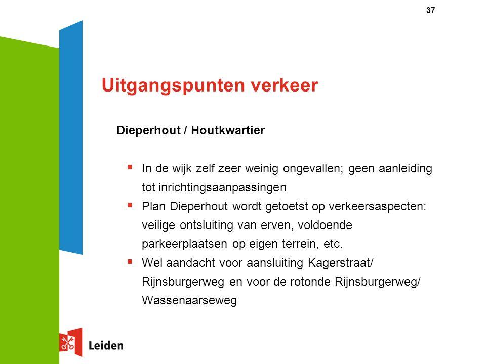 37 Uitgangspunten verkeer Dieperhout / Houtkwartier  In de wijk zelf zeer weinig ongevallen; geen aanleiding tot inrichtingsaanpassingen  Plan Dieperhout wordt getoetst op verkeersaspecten: veilige ontsluiting van erven, voldoende parkeerplaatsen op eigen terrein, etc.