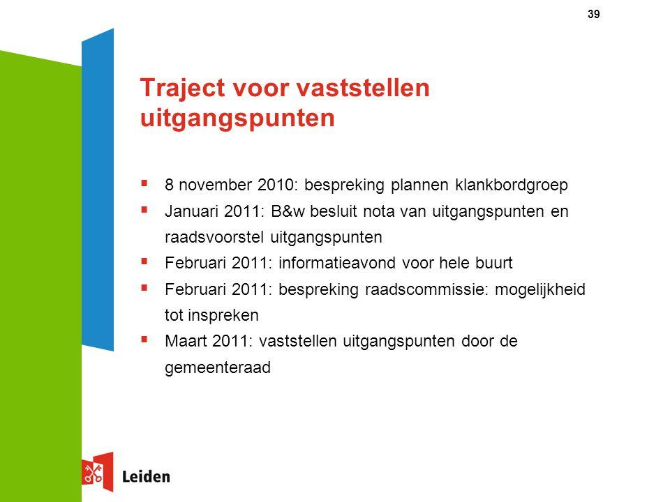 39 Traject voor vaststellen uitgangspunten  8 november 2010: bespreking plannen klankbordgroep  Januari 2011: B&w besluit nota van uitgangspunten en