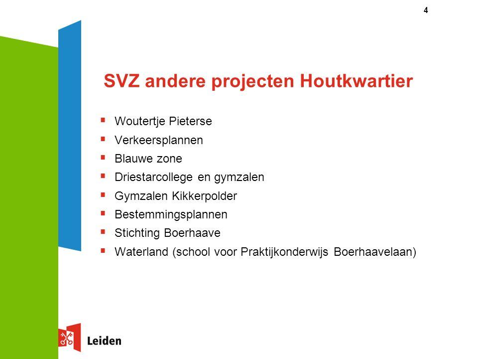 4 SVZ andere projecten Houtkwartier  Woutertje Pieterse  Verkeersplannen  Blauwe zone  Driestarcollege en gymzalen  Gymzalen Kikkerpolder  Beste