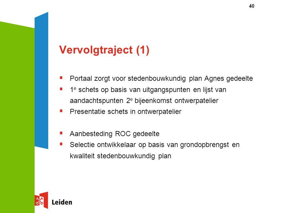 40 Vervolgtraject (1)  Portaal zorgt voor stedenbouwkundig plan Agnes gedeelte  1 e schets op basis van uitgangspunten en lijst van aandachtspunten