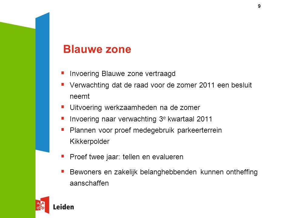 9 Blauwe zone  Invoering Blauwe zone vertraagd  Verwachting dat de raad voor de zomer 2011 een besluit neemt  Uitvoering werkzaamheden na de zomer